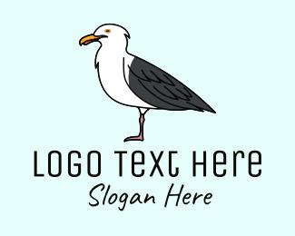 Seaside - Seagull Bird Seaside logo design