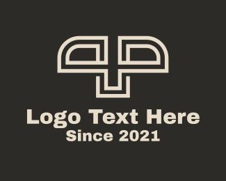 P - White Stripe Letter P & P logo design