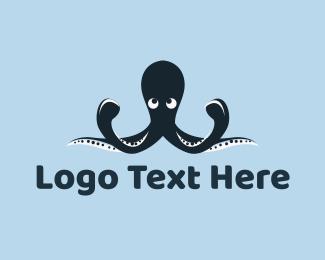 Octopus - Blue Octopus Mascot logo design