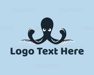 Aquarium - Blue Octopus Mascot logo design