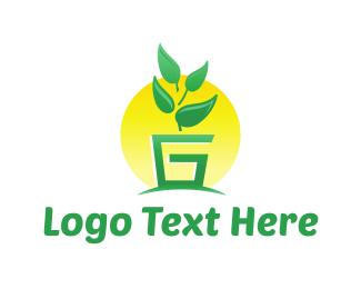 Pot - G Pot Plant logo design