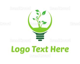 Led - Green Eco Light logo design