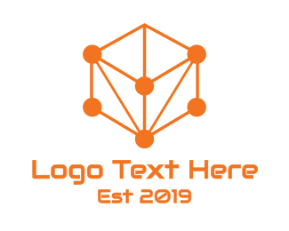 Solutions - Orange Circuit Cube logo design