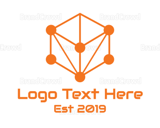 Startup - Orange Circuit Cube logo design