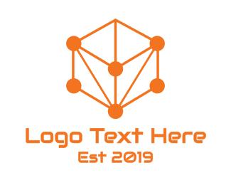Dice - Orange Circuit Cube logo design