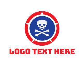 Bone - Skull Shield logo design