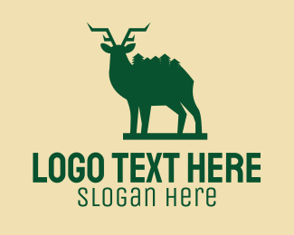 Stag - Green Forest Deer  logo design