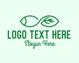 Fingerling - Green Fish Leaf logo design