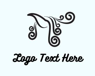 Curl - Bird & Swirls logo design