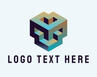 Online Game - Abstract 3D Geometric Shape logo design