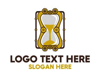 Hourglass - Steampunk Hourglass logo design