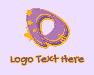 Record Producer - Graffiti Star Letter D logo design