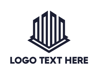 """Geometric Building Outline"" by LogoBrainstorm"
