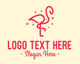 Zoo Animal - Pink Star Flamingo logo design