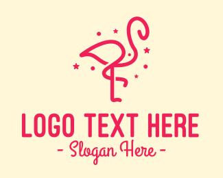 Flamingo - Pink Star Flamingo logo design