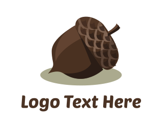 Hazelnut - Brown Acorn logo design