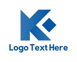 Letter K - Diamond Letter K logo design