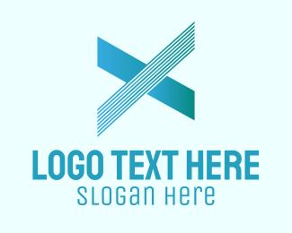 Typography - Blue Line Motion Letter X logo design