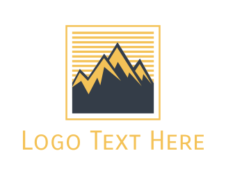 Stamp - Mountain Frame logo design