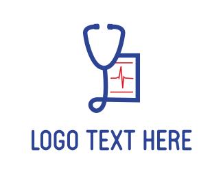 Prescription - Blue Stethoscope logo design