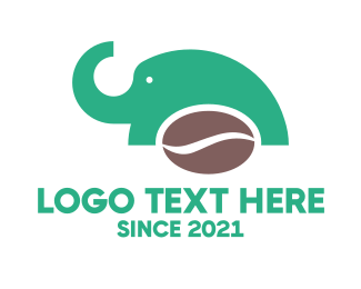 Brown Coffee Bean - Elephant Coffee Bean logo design