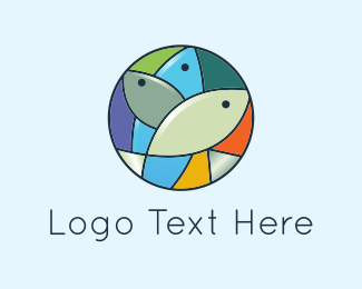 Three - Mosaic Fish logo design