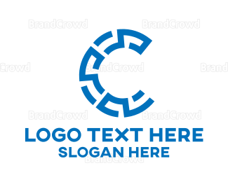 Cultural - Blue Maze Crypto Letter C logo design