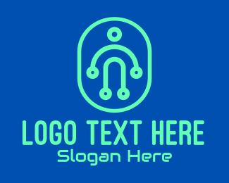 Digital Warrior - Modern Digital Person logo design