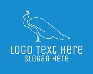 Peacock - Blue White Peacock logo design