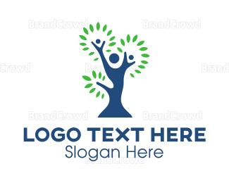 Parenting - Blue Green Family Tree logo design