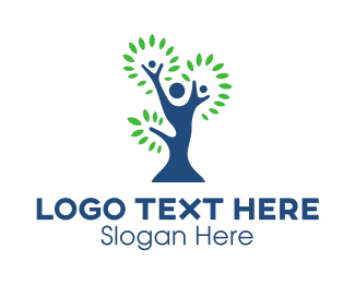 Arborist - Blue Green Family Tree logo design