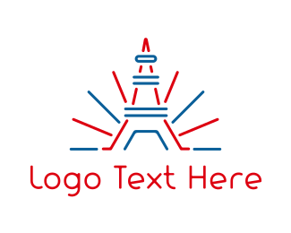 France - Red Blue Tower Outline logo design
