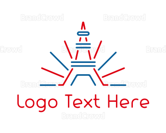 Tour - Red Blue Tower Outline logo design