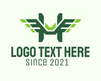 Air Transportation - Green Wings Letter H logo design