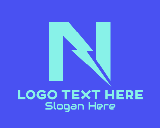 Charging Station - Neon Thunder Letter N logo design