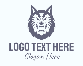 Team Mascot - Wild Gray Wolf logo design