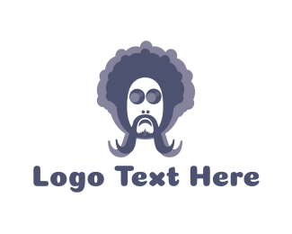 Curly - Hippie Man logo design
