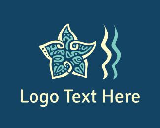 Beach - Star & Waves logo design