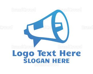 Speaker - Blue Megaphone Outline  logo design