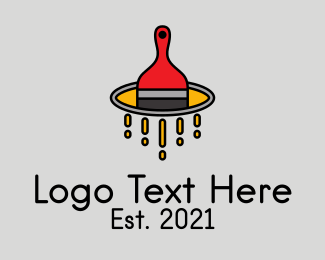 Paint - Paint Brush Bucket logo design