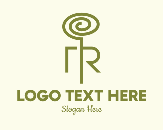 Sprout - Green Plant Tendril Letter R logo design