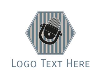 Comedy - Hexagonal Microphone logo design