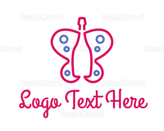 Alcohol - Pink Wine Butterfly logo design
