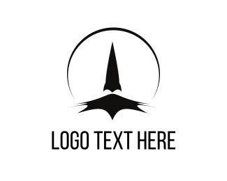 Spaceship - Black Rocket logo design