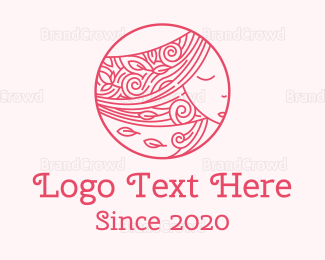 Hair And Beauty - Pink Floral Hair logo design