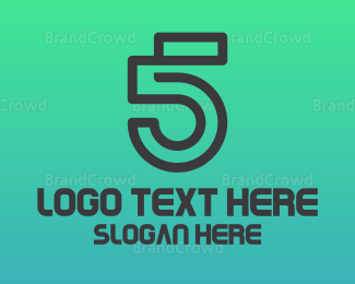 Fifth - Minimalist Number 5 logo design