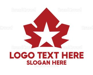 Canadian - Red Canadian Star logo design