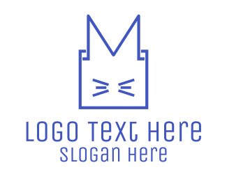 Minimal - Cat Box Animal logo design