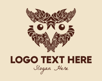 Review Center - Feather Owl Face logo design