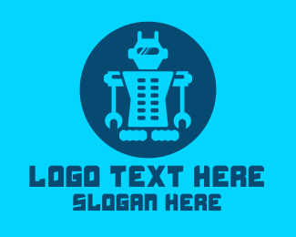 Droid - Blue Mechanical Robot Engineering logo design